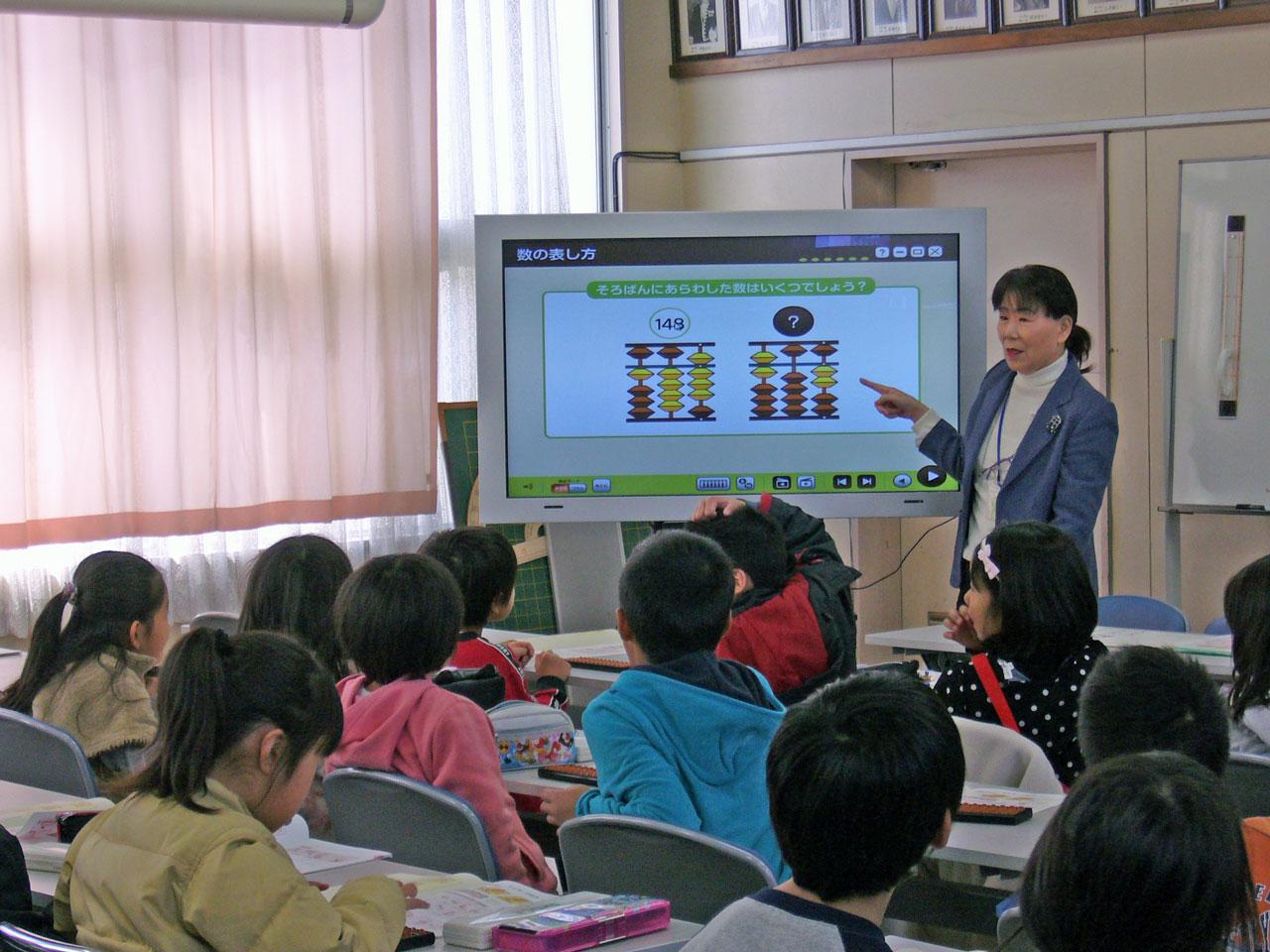 電子黒板を使ったそろばん授業